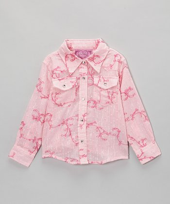 Pink Swiss Dot Vine Button-Up - Infant & Toddler