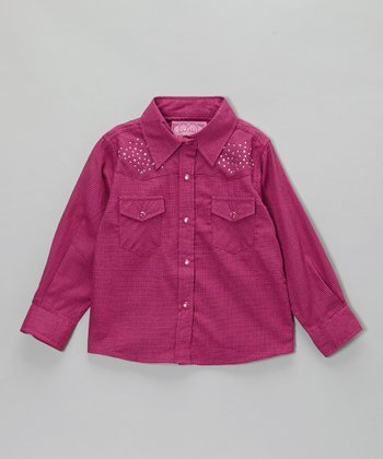 Hot Pink Burlap-Print Button-Up - Infant & Toddler