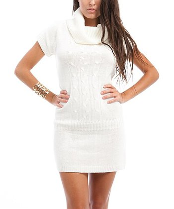 Ivory Short-Sleeve Cowl Neck Sweater Dress