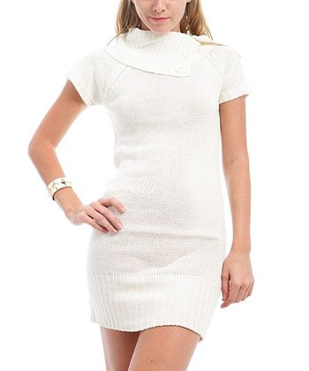 Ivory Asymmetrical Collar Sweater Dress