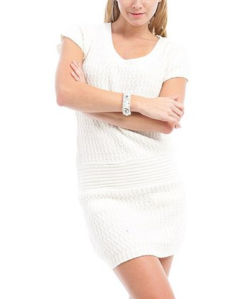 Ivory Textured Drop-Waist Dress