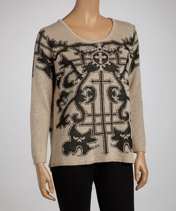 Natural & Black Celtic Sweater