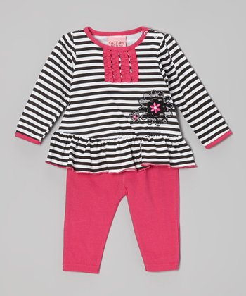 Hot Pink & Black Stripe Top & Leggings - Infant
