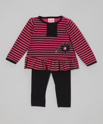 Black & Hot Pink Stripe Top & Leggings - Infant