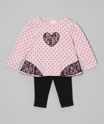 Pink & Black Polka Dot Top & Leggings - Infant