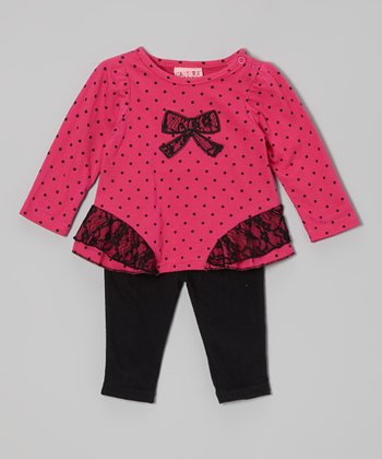 Hot Pink & Black Polka Dot Top & Leggings - Infant