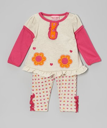 Pink & Orange Jersey Top & Leggings - Infant