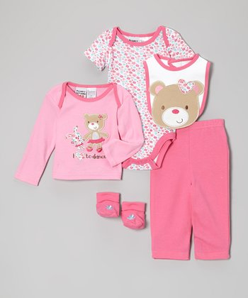Peanut Buttons Pink Teddy Bear Five-Piece Layette Set - Infant