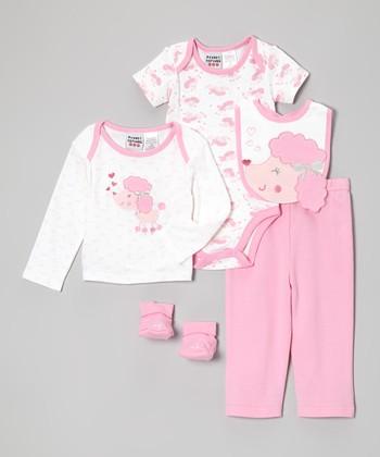 Peanut Buttons Pink Lamb Five-Piece Layette Set - Infant