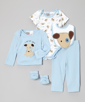 Peanut Buttons Blue Puppy Layette Set - Infant