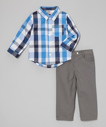 Peanut Buttons Blue & Gray Plaid Button-Up & Pants - Infant & Toddler