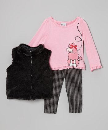 Pink & Black Poodle Pants Set - Girls