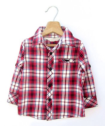 Red Plaid Pocket Button-Up - Infant, Toddler & Boys