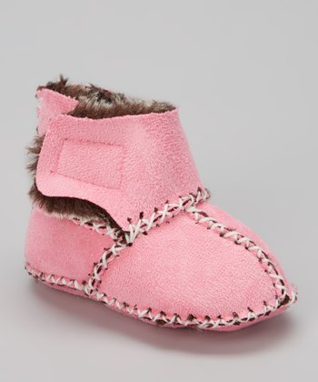 Pink & Brown Faux Fur Boot
