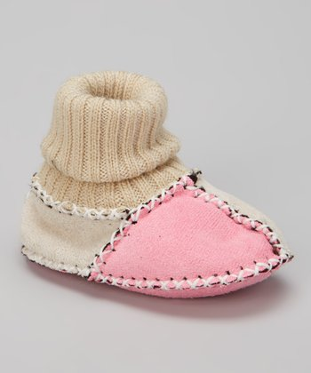 Pink & Cream Patchwork Booties