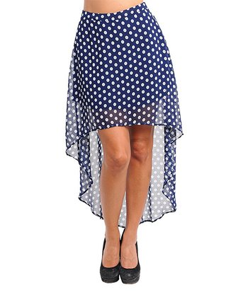Navy & White Polka Dot Hi-Low Skirt