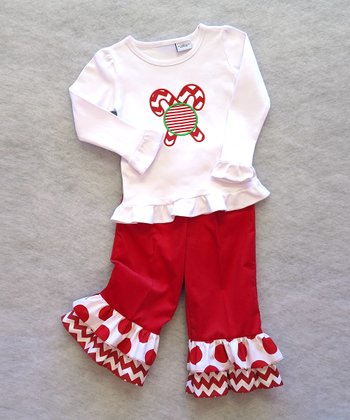 Red Candy Cane Top & Dot Ruffle Pants - Toddler & Girls