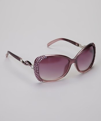 Purple & Pink Crystal Holly Sunglasses & Case