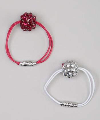 Pink & White Gem Hair Tie Set