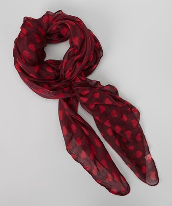 Burgundy & Berry Heart Scarf