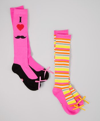 Pink & Orange Mustache Stripe Sock Set