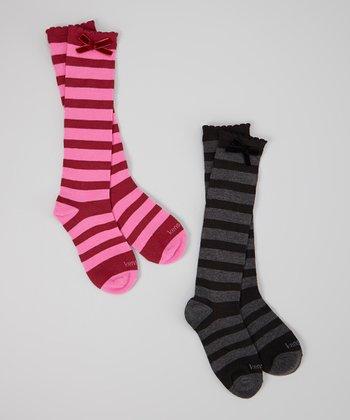 Pink & Black Stripe Bow Sock Set