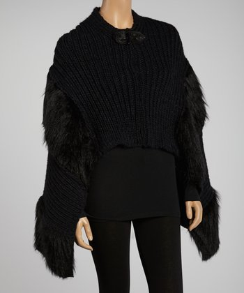 Black Bow Wool-Blend Poncho