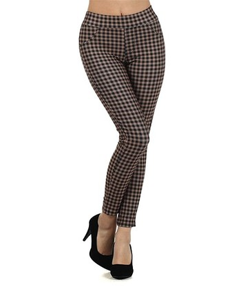 Camel Checkered Jeggings