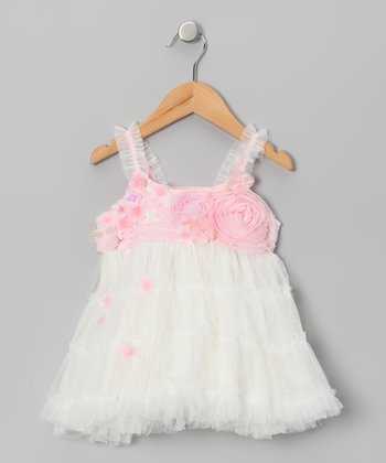 Pink & White Princess Rose Dress - Infant, Toddler & Girls