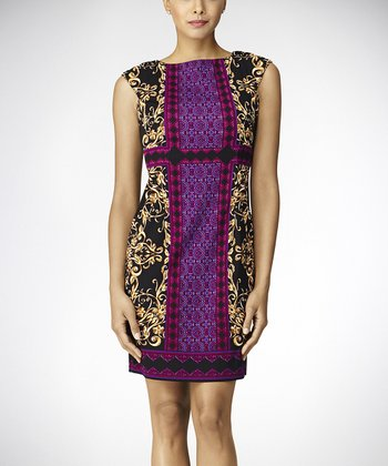 Black & Plum Scroll Foulard Cap-Sleeve Dress