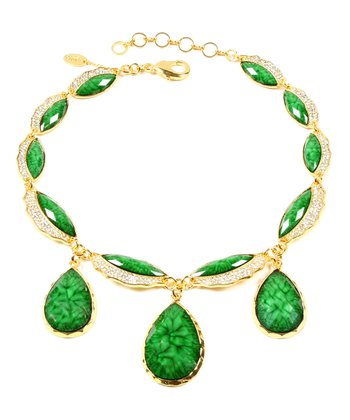 Evergreen & Gold Lettice Necklace