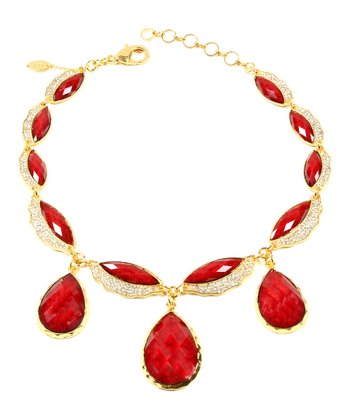 Ruby & Gold Lettice Necklace