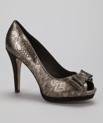 Black & Silver Suhona Peep-Toe Pump