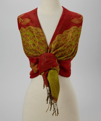 Rust & Green Peacock Scarf