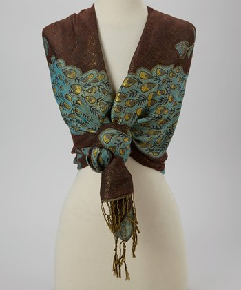 Brown & Blue Peacock Scarf