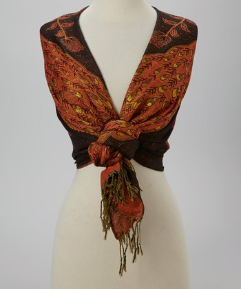 Black & Orange Peacock Scarf