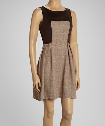 Brown Katniss Wool-Blend Sleeveless Dress