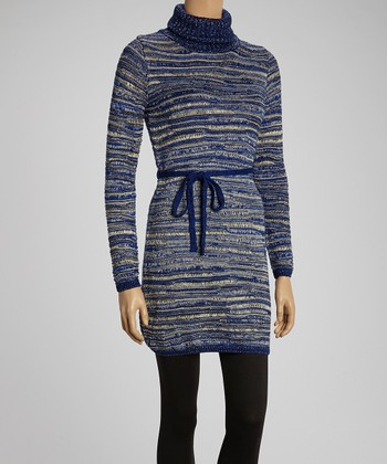 Blue Weave Stripe Turtleneck Dress