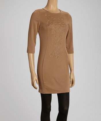 Camel Embroidered Three-Quarter Sleeve Dress