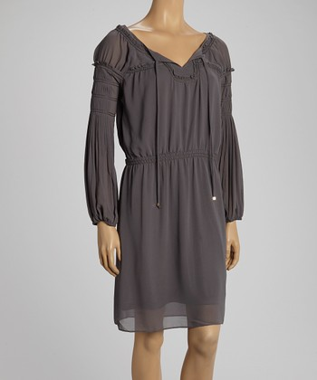 Gray Peasant Dress