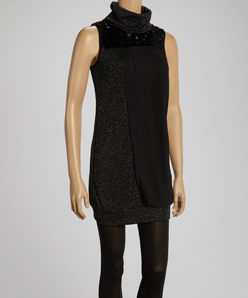Black Swirl Dot Turtleneck Dress