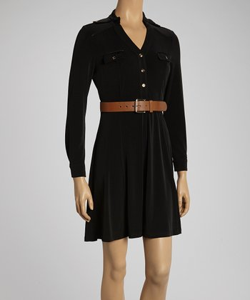 Black Belted Button-Up Dress