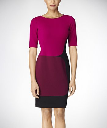Plum Color Block Three-Quarter Sleeve Dress