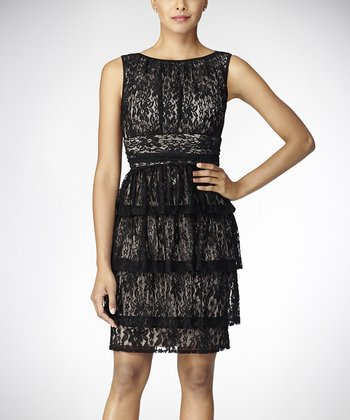 Black Lace Ruffle Tier Sleeveless Dress