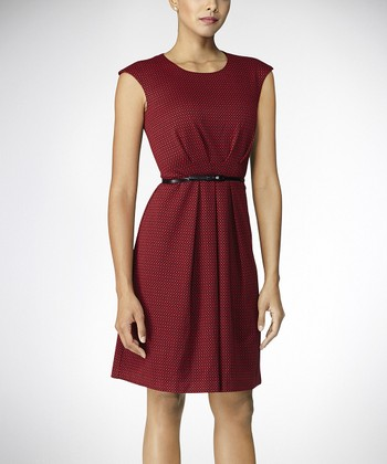 Red & Black Belted Cap-Sleeve Dress