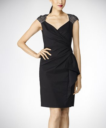 Black & Silver Surplice Dress