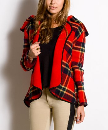 Red Plaid Wool Harper Jacket - Women