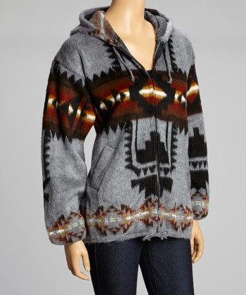 Charcoal Southwest Zip-Up Hoodie - Women