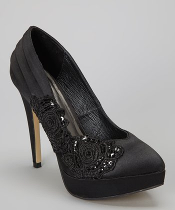 Black Embellished Ural Pump