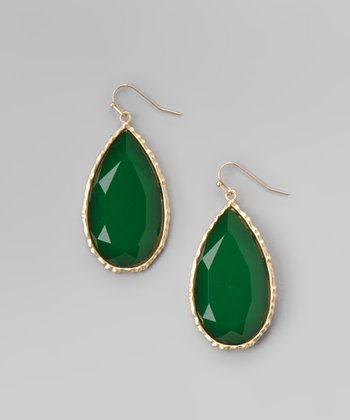 Emerald Lucite & Gold Faceted Teardrop Earrings